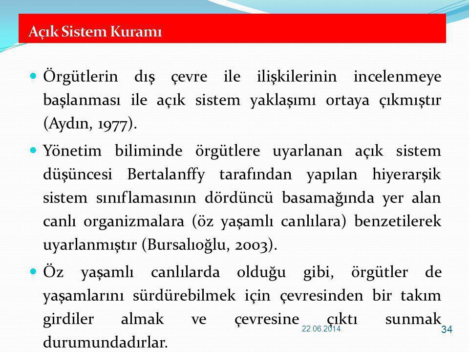  Örgütlerin dış çevre ile ilişkilerinin incelenmeye başlanması ile açık sistem yaklaşımı ortaya çıkmıştır (Aydın, 1977).  Yönetim biliminde örgütler