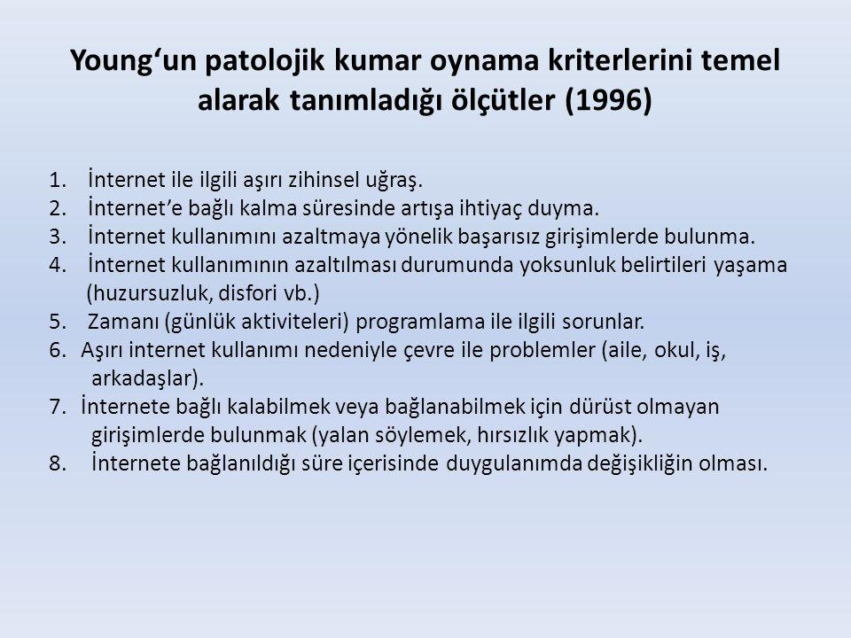 Young'un patolojik kumar oynama kriterlerini temel alarak tanımladığı ölçütler (1996) 1. İnternet ile ilgili aşırı zihinsel uğraş. 2. İnternet'e bağlı