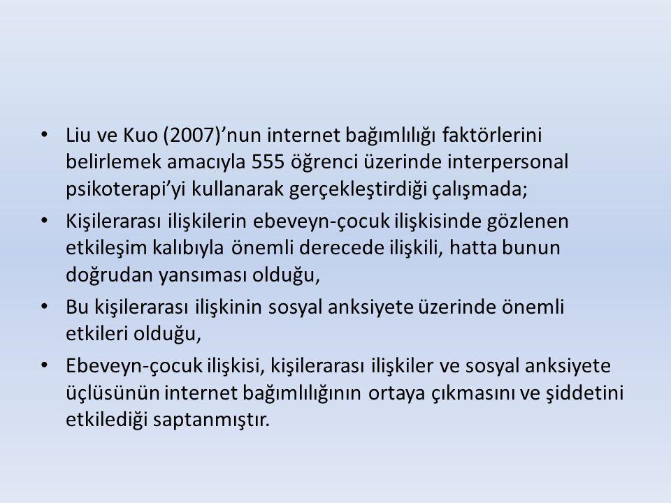 • Liu ve Kuo (2007)'nun internet bağımlılığı faktörlerini belirlemek amacıyla 555 öğrenci üzerinde interpersonal psikoterapi'yi kullanarak gerçekleşti