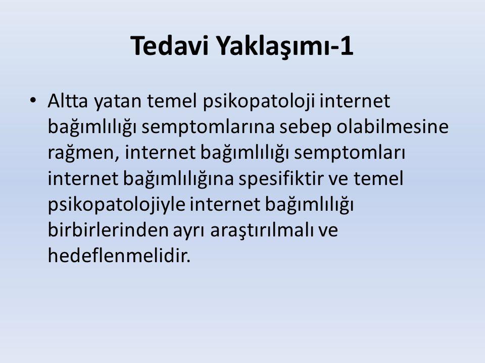 Tedavi Yaklaşımı-1 • Altta yatan temel psikopatoloji internet bağımlılığı semptomlarına sebep olabilmesine rağmen, internet bağımlılığı semptomları in