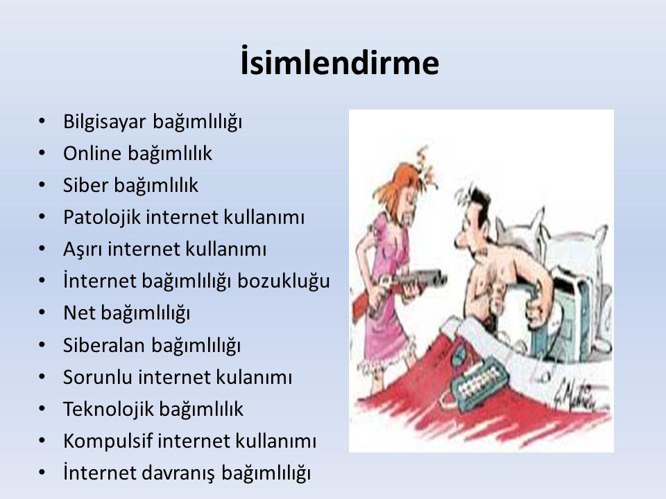 İsimlendirme • Bilgisayar bağımlılığı • Online bağımlılık • Siber bağımlılık • Patolojik internet kullanımı • Aşırı internet kullanımı • İnternet bağı