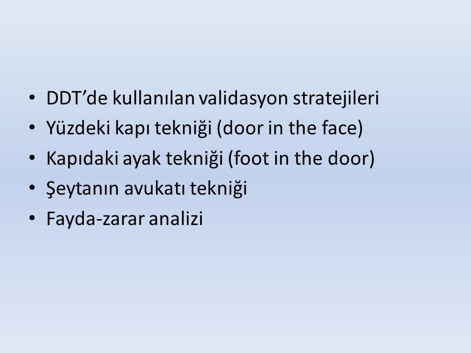 • DDT'de kullanılan validasyon stratejileri • Yüzdeki kapı tekniği (door in the face) • Kapıdaki ayak tekniği (foot in the door) • Şeytanın avukatı te