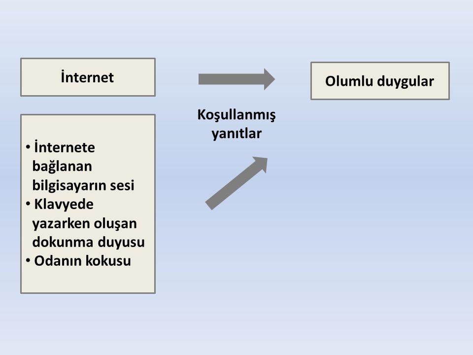 İnternet Olumlu duygular • İnternete bağlanan bilgisayarın sesi • Klavyede yazarken oluşan dokunma duyusu • Odanın kokusu Koşullanmış yanıtlar