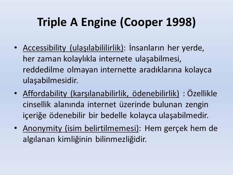 Triple A Engine (Cooper 1998) • Accessibility (ulaşılabililirlik): İnsanların her yerde, her zaman kolaylıkla internete ulaşabilmesi, reddedilme olmay