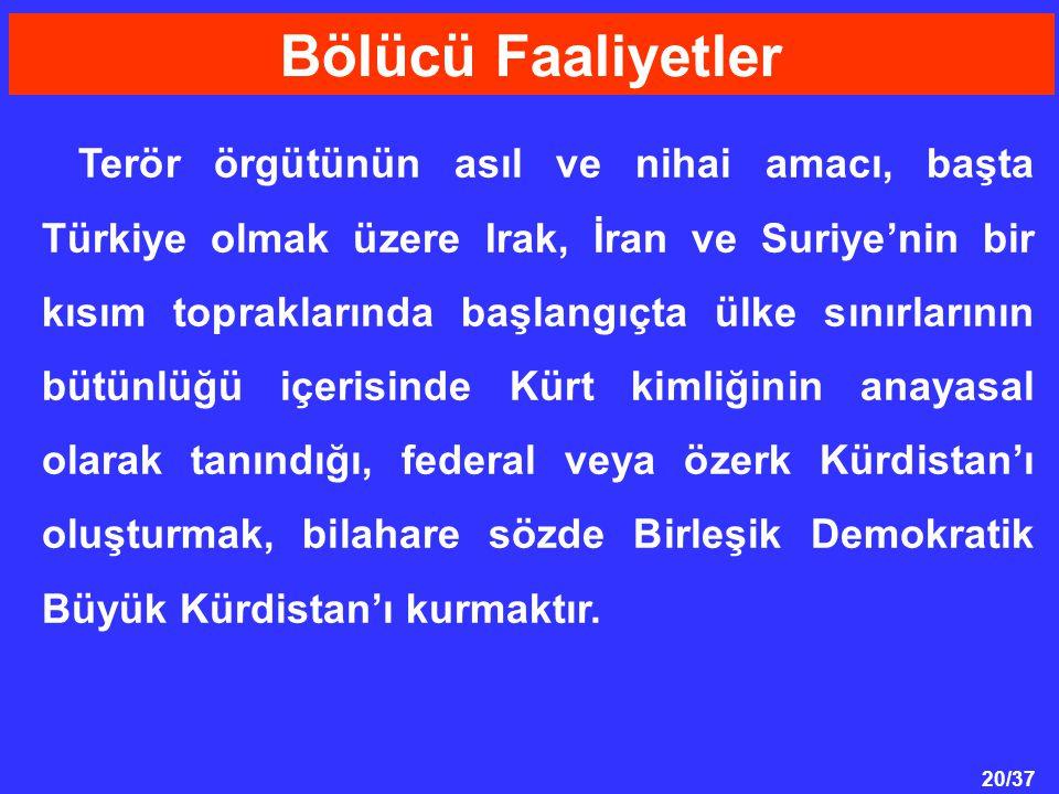 20/37 Terör örgütünün asıl ve nihai amacı, başta Türkiye olmak üzere Irak, İran ve Suriye'nin bir kısım topraklarında başlangıçta ülke sınırlarının bütünlüğü içerisinde Kürt kimliğinin anayasal olarak tanındığı, federal veya özerk Kürdistan'ı oluşturmak, bilahare sözde Birleşik Demokratik Büyük Kürdistan'ı kurmaktır.