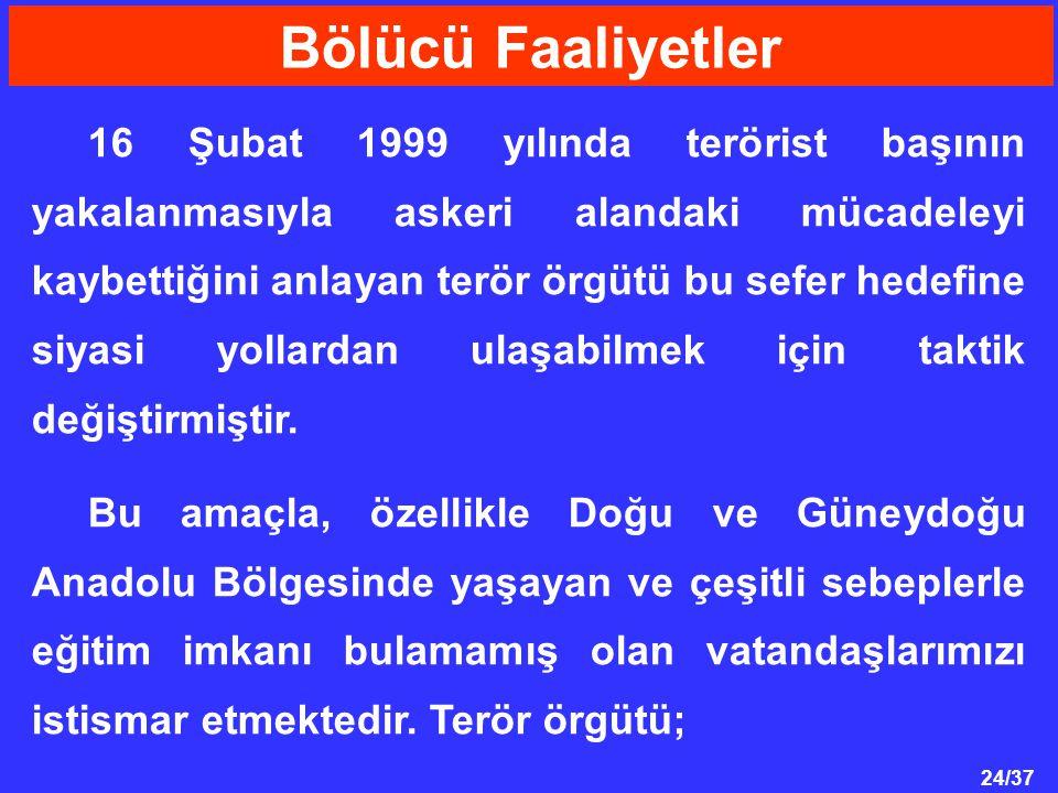 24/37 16 Şubat 1999 yılında terörist başının yakalanmasıyla askeri alandaki mücadeleyi kaybettiğini anlayan terör örgütü bu sefer hedefine siyasi yollardan ulaşabilmek için taktik değiştirmiştir.
