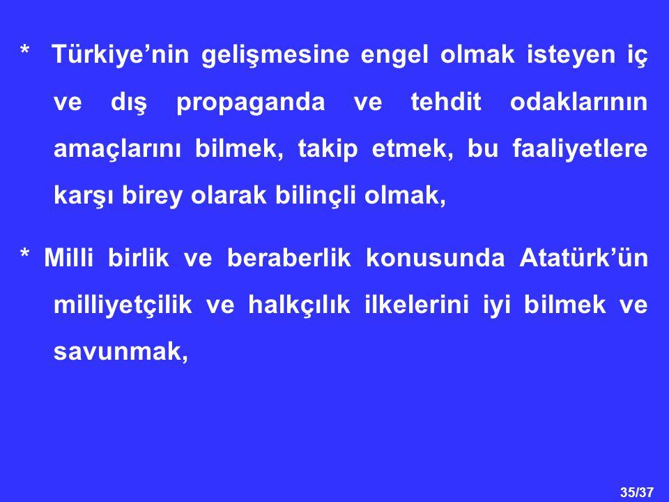 35/37 * Türkiye'nin gelişmesine engel olmak isteyen iç ve dış propaganda ve tehdit odaklarının amaçlarını bilmek, takip etmek, bu faaliyetlere karşı birey olarak bilinçli olmak, * Milli birlik ve beraberlik konusunda Atatürk'ün milliyetçilik ve halkçılık ilkelerini iyi bilmek ve savunmak,