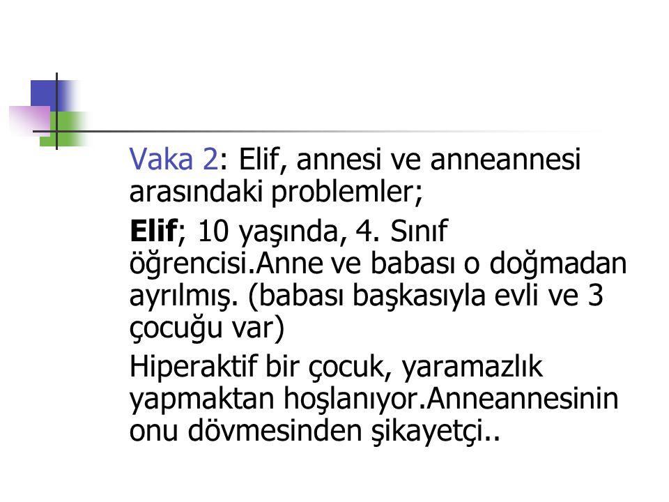 Vaka 2: Elif, annesi ve anneannesi arasındaki problemler; Elif; 10 yaşında, 4. Sınıf öğrencisi.Anne ve babası o doğmadan ayrılmış. (babası başkasıyla