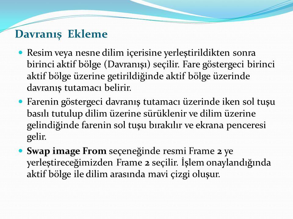  Resim veya nesne dilim içerisine yerleştirildikten sonra birinci aktif bölge (Davranış1) seçilir. Fare göstergeci birinci aktif bölge üzerine getiri