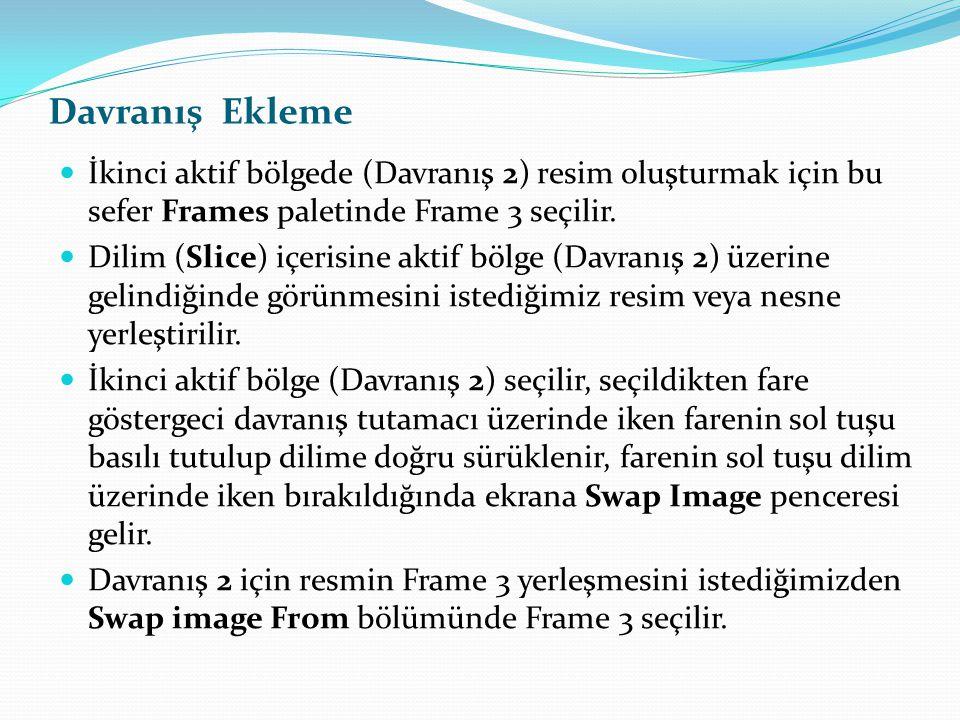  İkinci aktif bölgede (Davranış 2) resim oluşturmak için bu sefer Frames paletinde Frame 3 seçilir.  Dilim (Slice) içerisine aktif bölge (Davranış 2