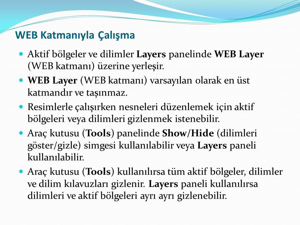WEB Katmanıyla Çalışma  Aktif bölgeler ve dilimler Layers panelinde WEB Layer (WEB katmanı) üzerine yerleşir.  WEB Layer (WEB katmanı) varsayılan ol