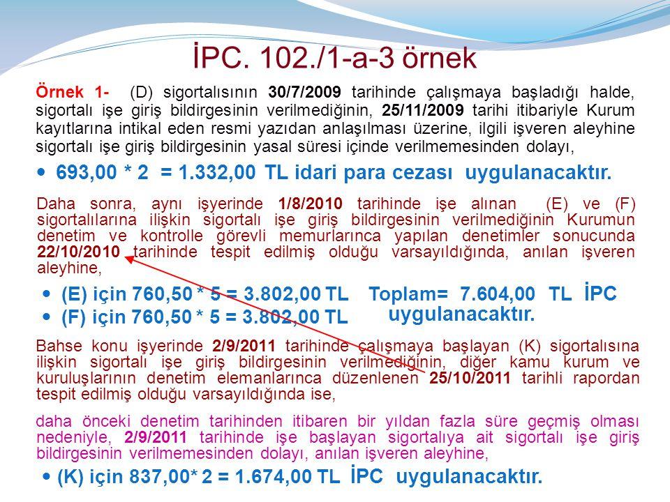 İPC. 102./1-a-3 örnek Örnek 1- (D) sigortalısının 30/7/2009 tarihinde çalışmaya başladığı halde, sigortalı işe giriş bildirgesinin verilmediğinin, 25/