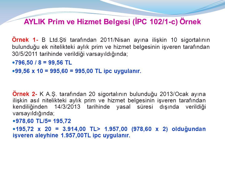 AYLIK Prim ve Hizmet Belgesi (İPC 102/1-c) Örnek Örnek 1- B Ltd.Şti tarafından 2011/Nisan ayına ilişkin 10 sigortalının bulunduğu ek nitelikteki aylık prim ve hizmet belgesinin işveren tarafından 30/5/2011 tarihinde verildiği varsayıldığında;  796,50 / 8 = 99,56 TL  99,56 x 10 = 995,60 = 995,00 TL ipc uygulanır.