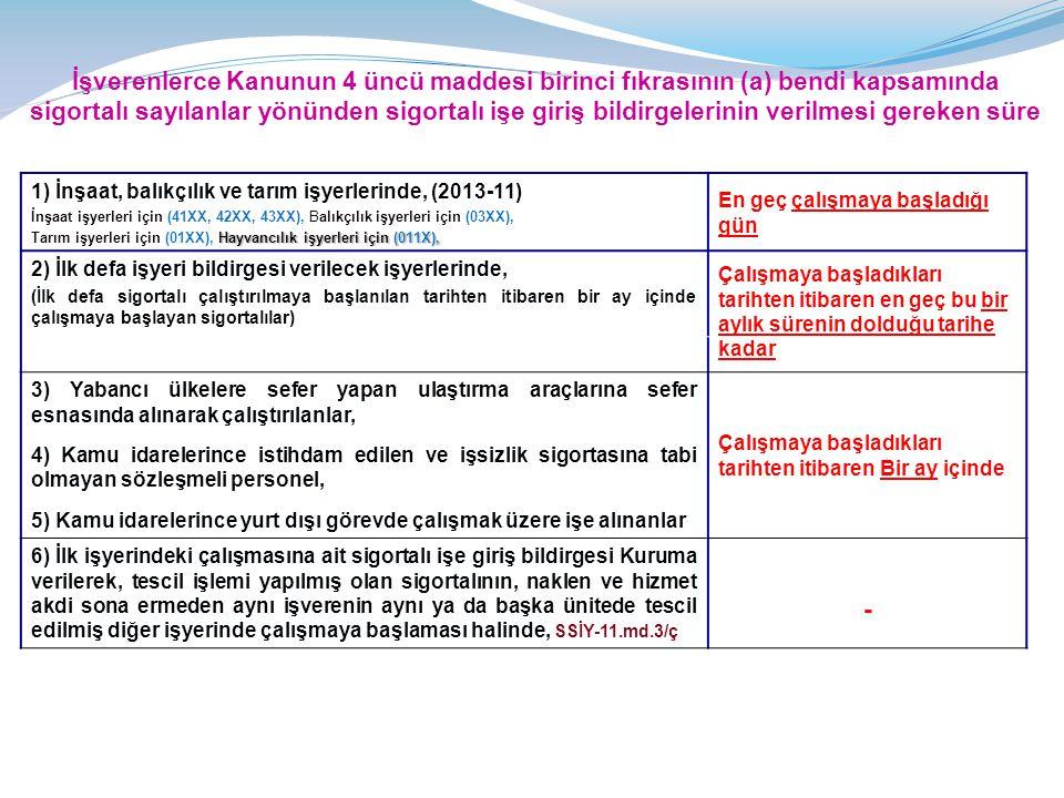 İşverenlerce Kanunun 4 üncü maddesi birinci fıkrasının (a) bendi kapsamında sigortalı sayılanlar yönünden sigortalı işe giriş bildirgelerinin verilmesi gereken süre 1) İnşaat, balıkçılık ve tarım işyerlerinde, (2013-11) İnşaat işyerleri için (41XX, 42XX, 43XX), Balıkçılık işyerleri için (03XX), Hayvancılık işyerleri için (011X), Tarım işyerleri için (01XX), Hayvancılık işyerleri için (011X), En geç çalışmaya başladığı gün 2) İlk defa işyeri bildirgesi verilecek işyerlerinde, (İlk defa sigortalı çalıştırılmaya başlanılan tarihten itibaren bir ay içinde çalışmaya başlayan sigortalılar) Çalışmaya başladıkları tarihten itibaren en geç bu bir aylık sürenin dolduğu tarihe kadar 3) Yabancı ülkelere sefer yapan ulaştırma araçlarına sefer esnasında alınarak çalıştırılanlar, 4) Kamu idarelerince istihdam edilen ve işsizlik sigortasına tabi olmayan sözleşmeli personel, 5) Kamu idarelerince yurt dışı görevde çalışmak üzere işe alınanlar Çalışmaya başladıkları tarihten itibaren Bir ay içinde 6) İlk işyerindeki çalışmasına ait sigortalı işe giriş bildirgesi Kuruma verilerek, tescil işlemi yapılmış olan sigortalının, naklen ve hizmet akdi sona ermeden aynı işverenin aynı ya da başka ünitede tescil edilmiş diğer işyerinde çalışmaya başlaması halinde, SSİY-11.md.3/ç -