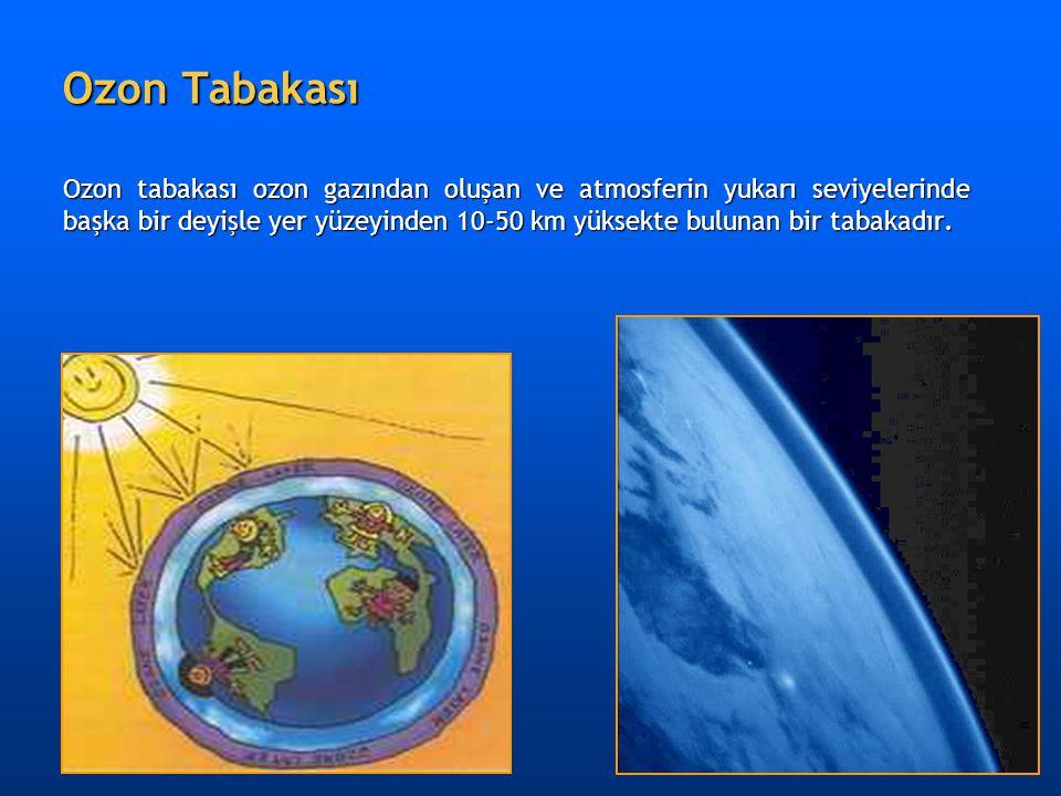 Ozon Tabakası Ozon tabakası ozon gazından oluşan ve atmosferin yukarı seviyelerinde başka bir deyişle yer yüzeyinden 10-50 km yüksekte bulunan bir tab