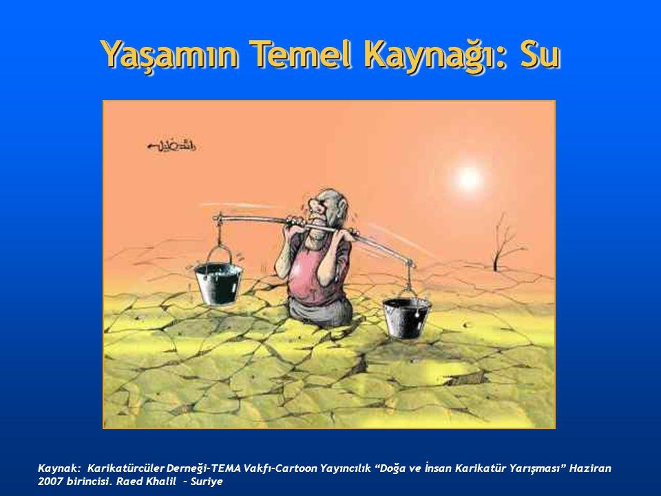 """Yaşamın Temel Kaynağı: Su Kaynak: Karikatürcüler Derneği-TEMA Vakfı-Cartoon Yayıncılık """"Doğa ve İnsan Karikatür Yarışması"""" Haziran 2007 birincisi. Rae"""