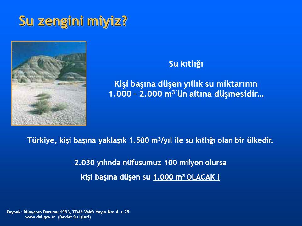 Su zengini miyiz? Türkiye, kişi başına yaklaşık 1.500 m 3 /yıl ile su kıtlığı olan bir ülkedir. 2.030 yılında nüfusumuz 100 milyon olursa kişi başına