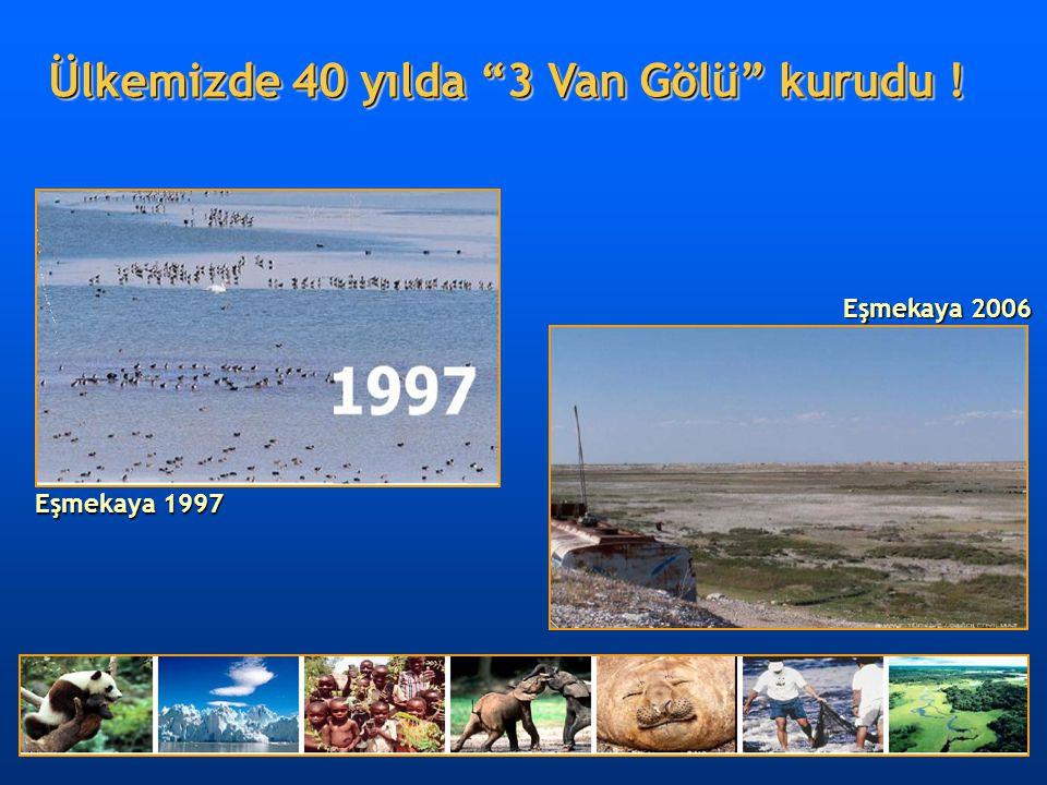 """Eşmekaya 1997 Eşmekaya 2006 Ülkemizde 40 yılda """"3 Van Gölü"""" kurudu !"""