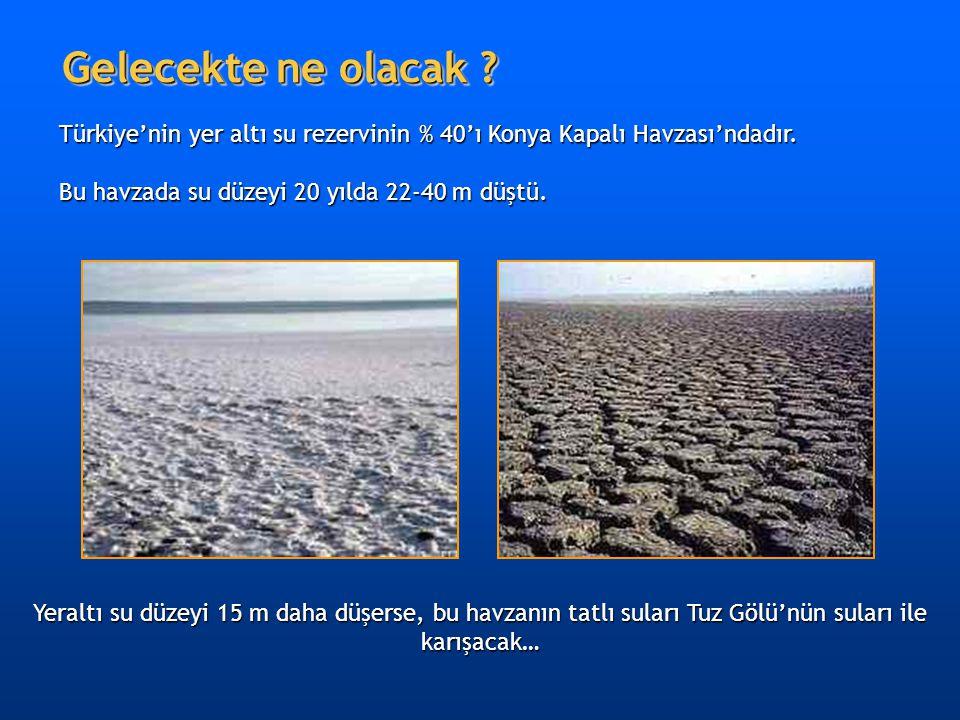 Gelecekte ne olacak ? Yeraltı su düzeyi 15 m daha düşerse, bu havzanın tatlı suları Tuz Gölü'nün suları ile karışacak… Türkiye'nin yer altı su rezervi
