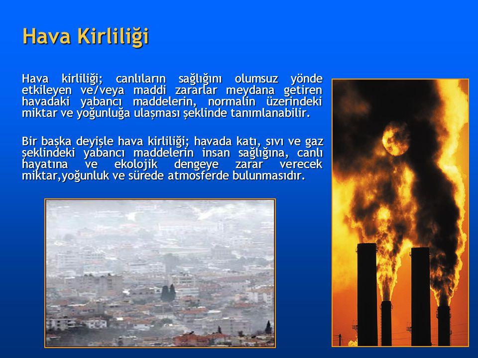 Hava Kirliliği Hava kirliliği; canlıların sağlığını olumsuz yönde etkileyen ve/veya maddi zararlar meydana getiren havadaki yabancı maddelerin, normal