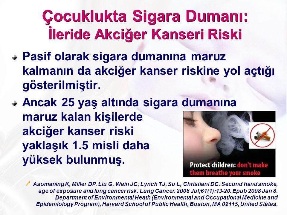 Pasif olarak sigara dumanına maruz kalmanın da akciğer kanser riskine yol açtığı gösterilmiştir. Ancak 25 yaş altında sigara dumanına maruz kalan kişi