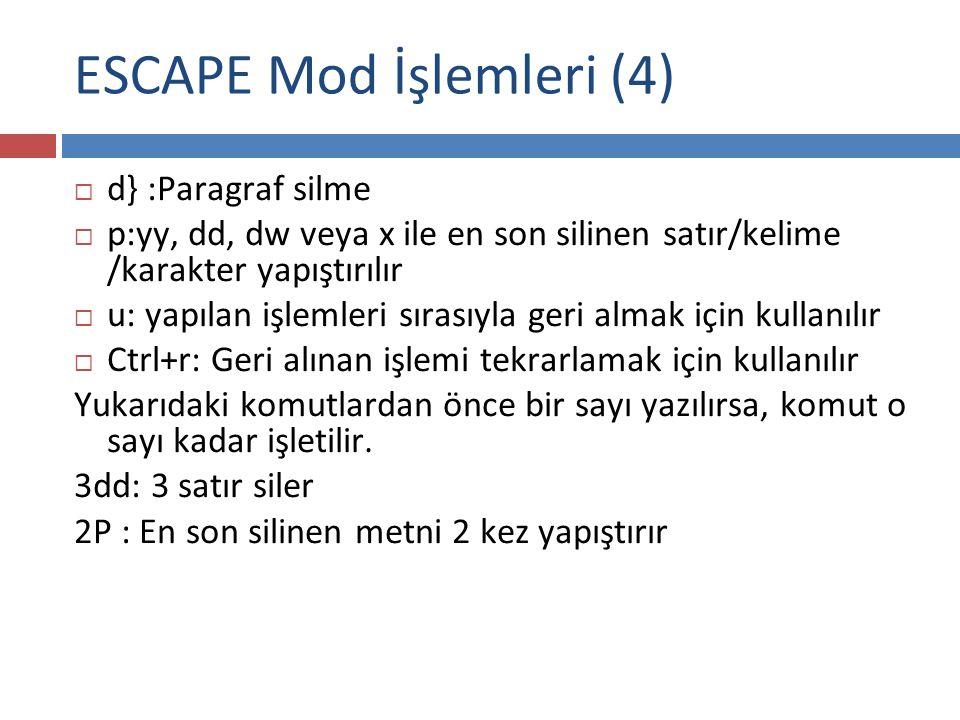 ESCAPE Mod İşlemleri (4)  d} :Paragraf silme  p:yy, dd, dw veya x ile en son silinen satır/kelime /karakter yapıştırılır  u: yapılan işlemleri sıra