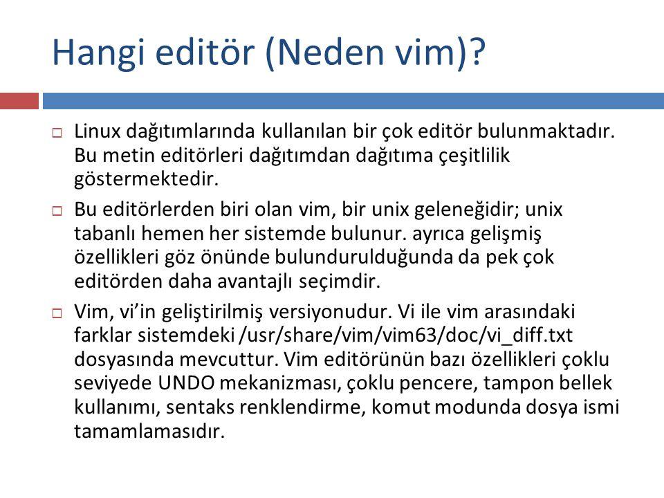 Hangi editör (Neden vim)?  Linux dağıtımlarında kullanılan bir çok editör bulunmaktadır. Bu metin editörleri dağıtımdan dağıtıma çeşitlilik göstermek