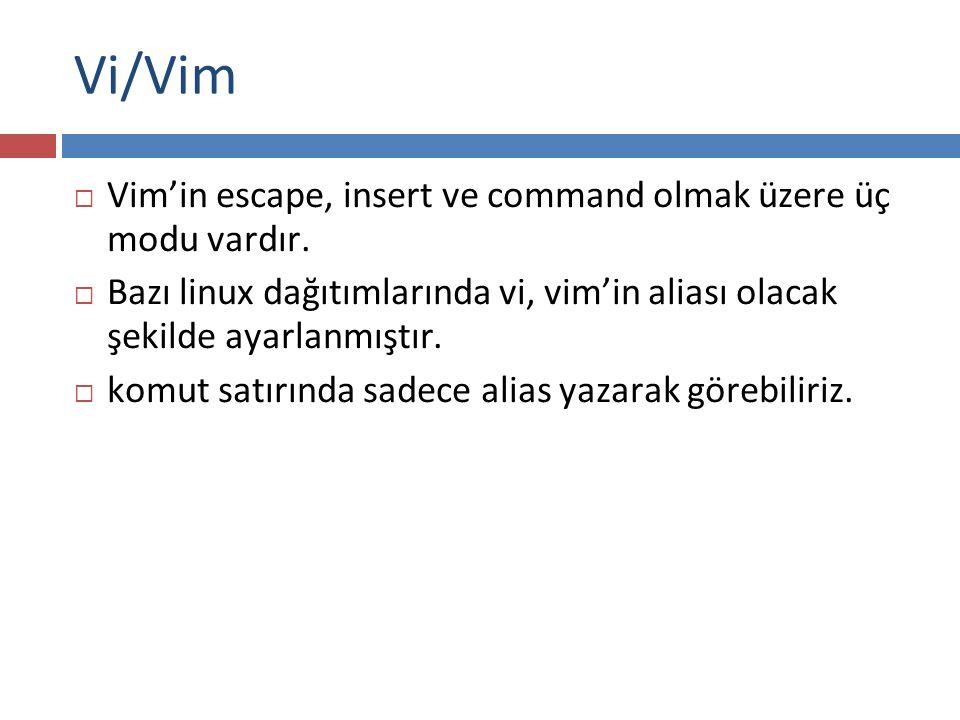 Vi/Vim  Vim'in escape, insert ve command olmak üzere üç modu vardır.  Bazı linux dağıtımlarında vi, vim'in aliası olacak şekilde ayarlanmıştır.  ko
