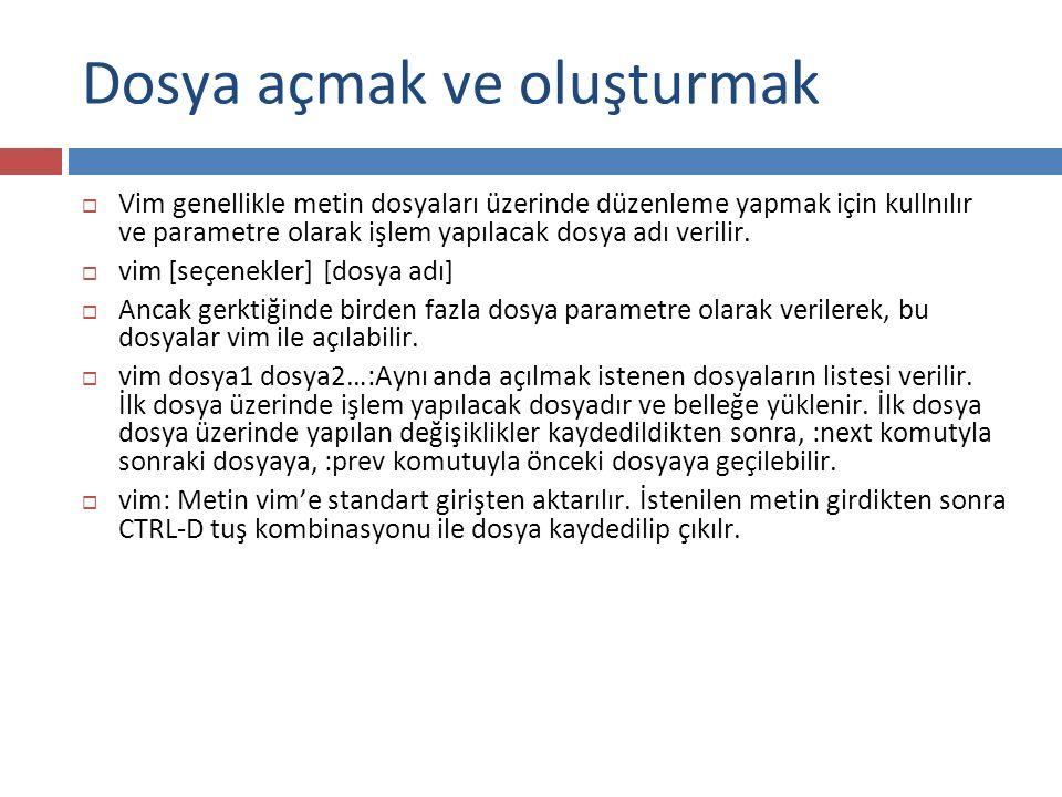 Command Mod İşlemleri(3)  Örnekler:  5,23 s/itü/İstanbul Teknik Üniversitesi/g  4,20 s/ali/veli/  % s/root/admin/gc  13,19 s/^deneme$/  g/^$/d  % g/root\c/s/UID/userid/g  % s/root/\U/g