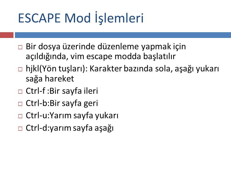 ESCAPE Mod İşlemleri  Bir dosya üzerinde düzenleme yapmak için açıldığında, vim escape modda başlatılır  hjkl(Yön tuşları): Karakter bazında sola, a