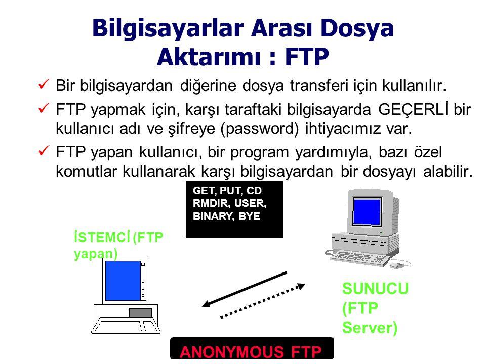 Bilgisayarlar Arası Dosya Aktarımı : FTP  Bir bilgisayardan diğerine dosya transferi için kullanılır.