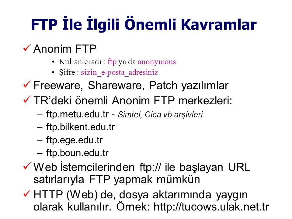 FTP İle İlgili Önemli Kavramlar  Anonim FTP •Kullanıcı adı : ftp ya da anonymous •Şifre : sizin_e-posta_adresiniz  Freeware, Shareware, Patch yazılımlar  TR'deki önemli Anonim FTP merkezleri: –ftp.metu.edu.tr - Simtel, Cica vb arşivleri –ftp.bilkent.edu.tr –ftp.ege.edu.tr –ftp.boun.edu.tr  Web İstemcilerinden ftp:// ile başlayan URL satırlarıyla FTP yapmak mümkün  HTTP (Web) de, dosya aktarımında yaygın olarak kullanılır.