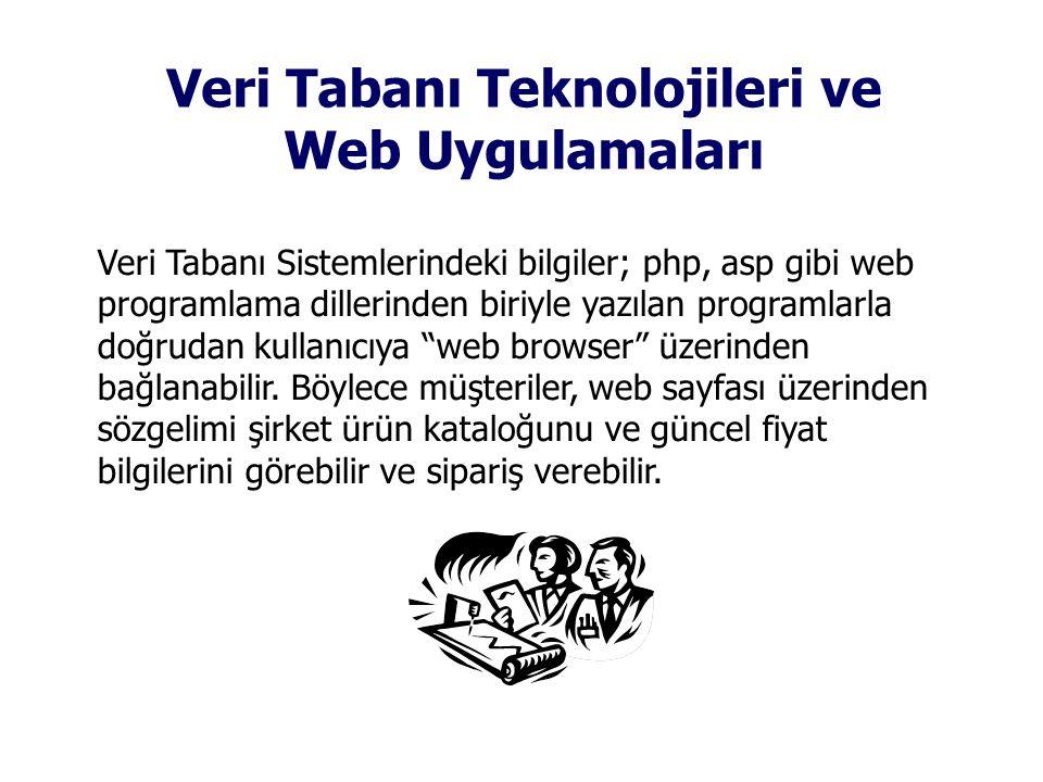 Veri Tabanı Teknolojileri ve Web Uygulamaları Veri Tabanı Sistemlerindeki bilgiler; php, asp gibi web programlama dillerinden biriyle yazılan programlarla doğrudan kullanıcıya web browser üzerinden bağlanabilir.