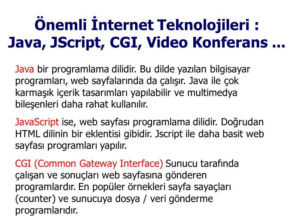 Önemli İnternet Teknolojileri : Java, JScript, CGI, Video Konferans...