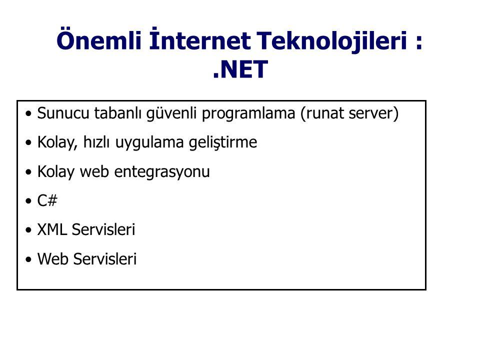 Önemli İnternet Teknolojileri :.NET • Sunucu tabanlı güvenli programlama (runat server) • Kolay, hızlı uygulama geliştirme • Kolay web entegrasyonu • C# • XML Servisleri • Web Servisleri