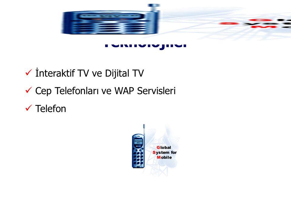 İnternet Dışında Kullanılan Teknolojiler  İnteraktif TV ve Dijital TV  Cep Telefonları ve WAP Servisleri  Telefon