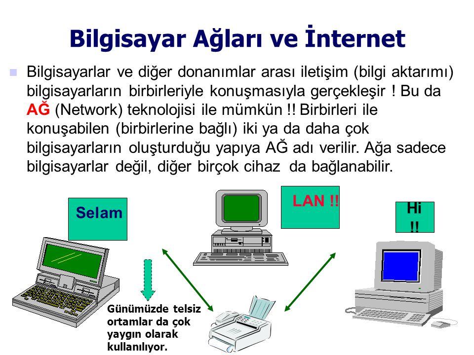 Bilgisayar Ağları ve İnternet  Bilgisayarlar ve diğer donanımlar arası iletişim (bilgi aktarımı) bilgisayarların birbirleriyle konuşmasıyla gerçekleşir .