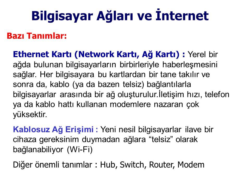 Bilgisayar Ağları ve İnternet Bazı Tanımlar: Ethernet Kartı (Network Kartı, Ağ Kartı) : Yerel bir ağda bulunan bilgisayarların birbirleriyle haberleşmesini sağlar.