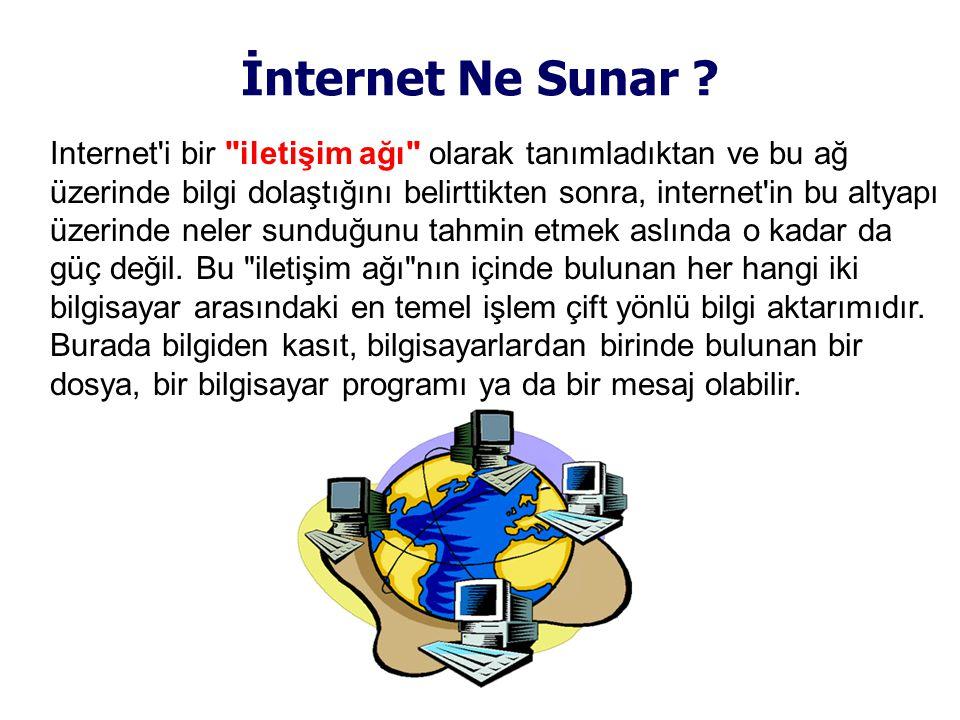 Internet i bir iletişim ağı olarak tanımladıktan ve bu ağ üzerinde bilgi dolaştığını belirttikten sonra, internet in bu altyapı üzerinde neler sunduğunu tahmin etmek aslında o kadar da güç değil.