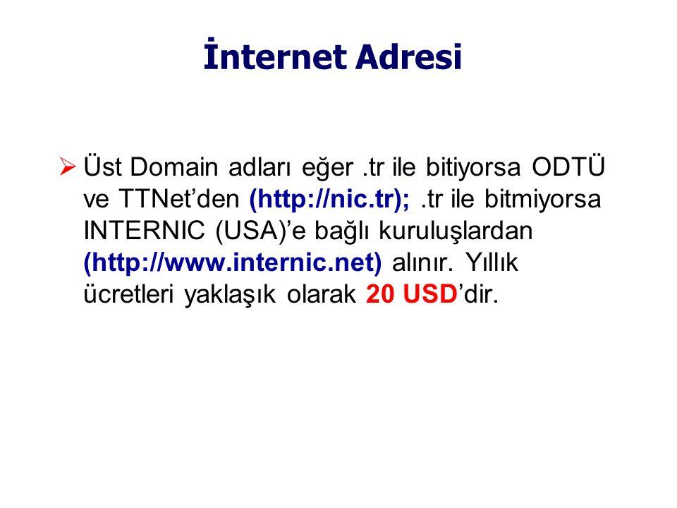 İnternet Adresi  Üst Domain adları eğer.tr ile bitiyorsa ODTÜ ve TTNet'den (http://nic.tr);.tr ile bitmiyorsa INTERNIC (USA)'e bağlı kuruluşlardan (http://www.internic.net) alınır.