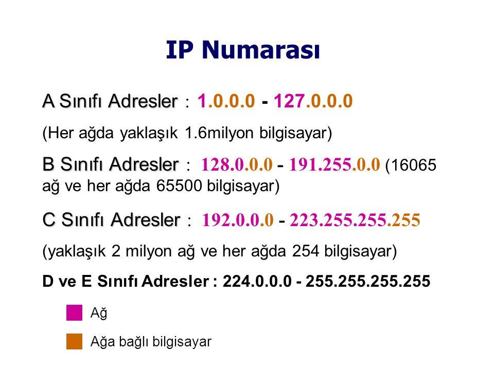 IP Numarası A Sınıfı Adresler A Sınıfı Adresler : 1.0.0.0 - 127.0.0.0 (Her ağda yaklaşık 1.6milyon bilgisayar) B Sınıfı Adresler B Sınıfı Adresler : 128.0.0.0 - 191.255.0.0 (16065 ağ ve her ağda 65500 bilgisayar) C Sınıfı Adresler C Sınıfı Adresler : 192.0.0.0 - 223.255.255.255 (yaklaşık 2 milyon ağ ve her ağda 254 bilgisayar) D ve E Sınıfı Adresler : 224.0.0.0 - 255.255.255.255 Ağ Ağa bağlı bilgisayar