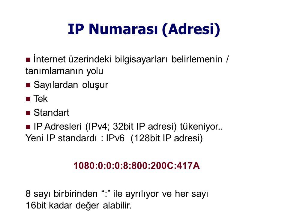 IP Numarası (Adresi)  İnternet üzerindeki bilgisayarları belirlemenin / tanımlamanın yolu  Sayılardan oluşur  Tek  Standart  IP Adresleri (IPv4; 32bit IP adresi) tükeniyor..