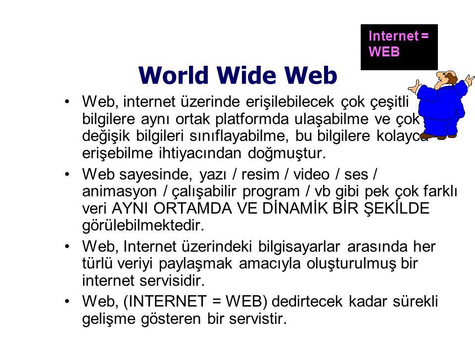 World Wide Web •Web, internet üzerinde erişilebilecek çok çeşitli bilgilere aynı ortak platformda ulaşabilme ve çok değişik bilgileri sınıflayabilme, bu bilgilere kolayca erişebilme ihtiyacından doğmuştur.
