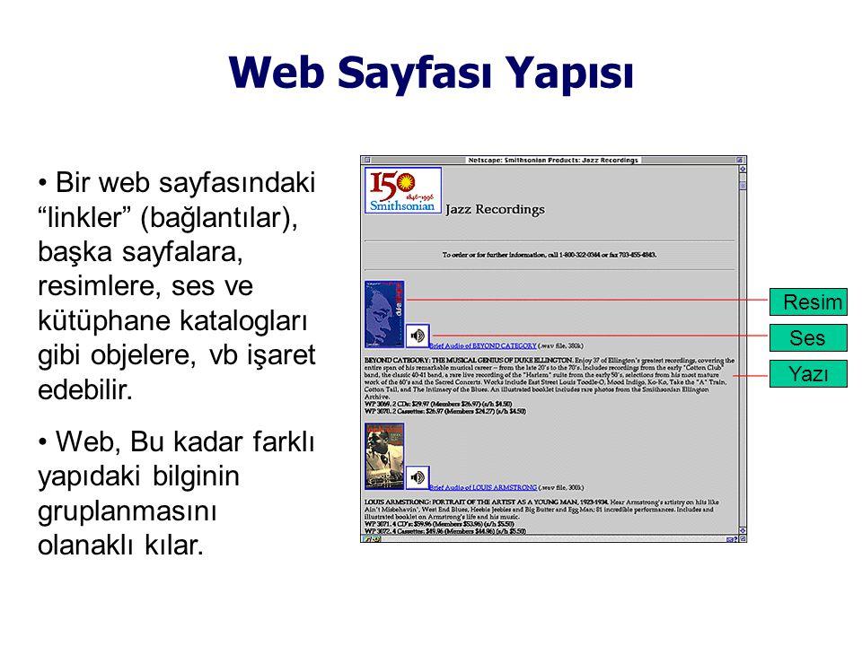 Web Sayfası Yapısı • Bir web sayfasındaki linkler (bağlantılar), başka sayfalara, resimlere, ses ve kütüphane katalogları gibi objelere, vb işaret edebilir.