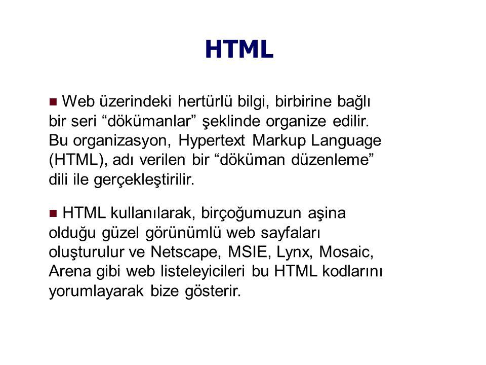 HTML  Web üzerindeki hertürlü bilgi, birbirine bağlı bir seri dökümanlar şeklinde organize edilir.