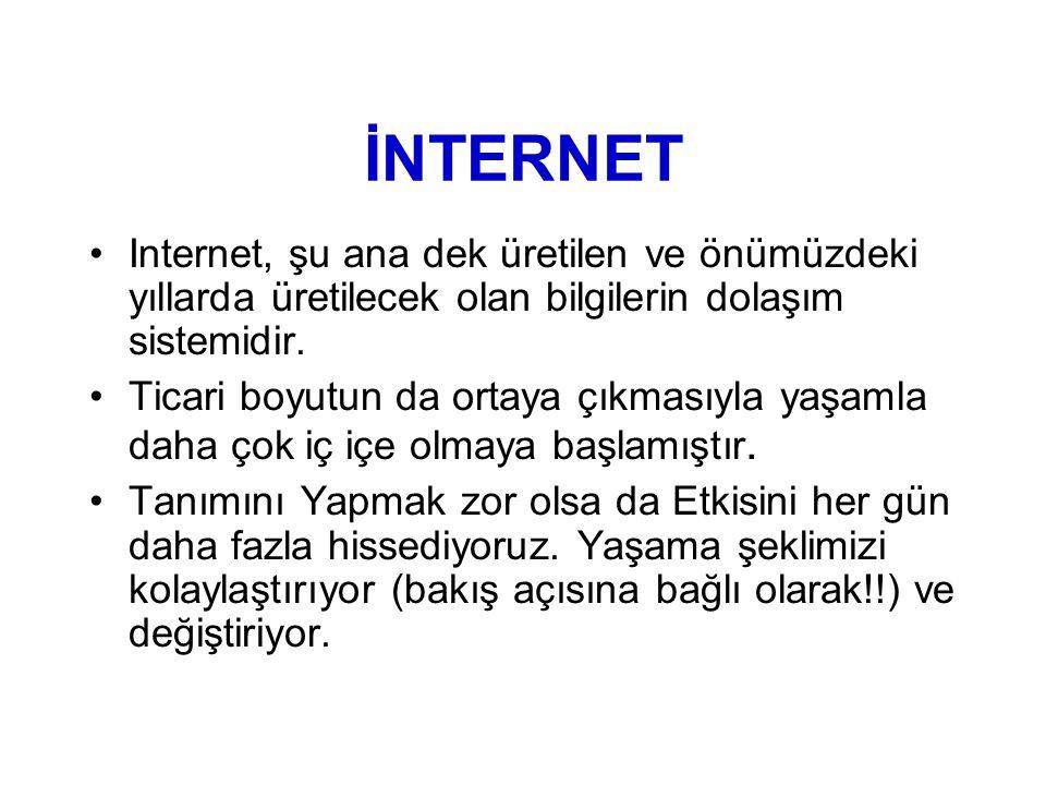İNTERNET •Internet, şu ana dek üretilen ve önümüzdeki yıllarda üretilecek olan bilgilerin dolaşım sistemidir.