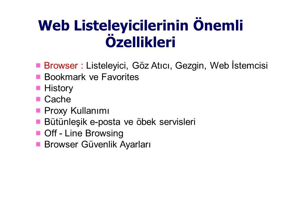 Web Listeleyicilerinin Önemli Özellikleri Browser : Listeleyici, Göz Atıcı, Gezgin, Web İstemcisi Bookmark ve Favorites History Cache Proxy Kullanımı Bütünleşik e-posta ve öbek servisleri Off - Line Browsing Browser Güvenlik Ayarları
