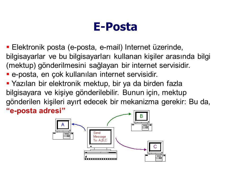 E-Posta  Elektronik posta (e-posta, e-mail) Internet üzerinde, bilgisayarlar ve bu bilgisayarları kullanan kişiler arasında bilgi (mektup) gönderilmesini sağlayan bir internet servisidir.