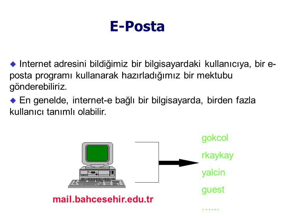 E-Posta  Internet adresini bildiğimiz bir bilgisayardaki kullanıcıya, bir e- posta programı kullanarak hazırladığımız bir mektubu gönderebiliriz.
