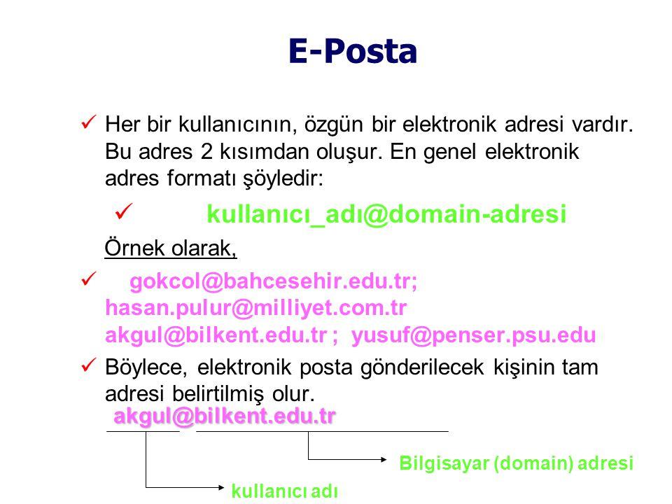 E-Posta  Her bir kullanıcının, özgün bir elektronik adresi vardır.